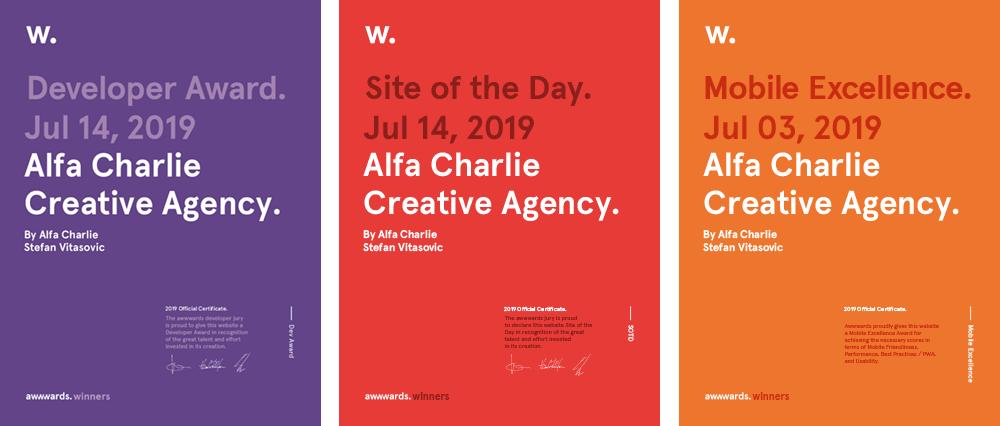 Alfa Charlie Creative Agency Wins Site of Day on Awwwwards